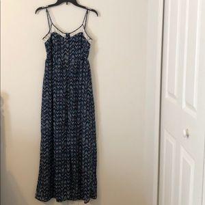 Lace Back Navy Print Maxi Dress
